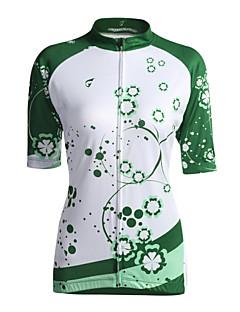 billige Sykkelklær-GETMOVING Dame Kortermet Sykkeljersey - Lysegrønn Blomster / botanikk Sykkel Jersey Topper, Pustende Coolmax® / Elastisk