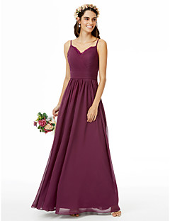 cheap Purple Passion-A-Line Spaghetti Straps Floor Length Chiffon Lace Bridesmaid Dress with Lace Sash / Ribbon Criss Cross Pleats by LAN TING BRIDE®