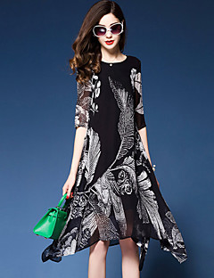YHSPWomen's Plus Size Going out Casual/Daily Simple Sophisticated Loose Chiffon Swing DressFloral Printing Round Neck Midi Asymmetrical