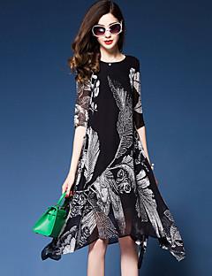 Damen Lose Chiffon Swing Kleid-Ausgehen Lässig/Alltäglich Übergröße Einfach Anspruchsvoll Blumen Print RundhalsausschnittMidi