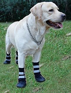 犬 シューズ、ブーツ カジュアル/普段着 防水 保温 縞柄 ブラック レッド ブルー
