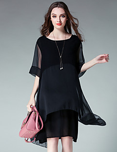 Women's Plus Size Casual/Daily Simple Cute Loose Chiffon Dress,Solid Round Neck Knee-length ½ Length Sleeve Cotton Chiffon Satin Summer