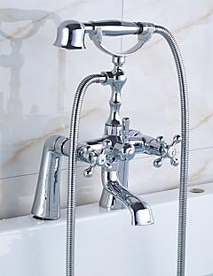 baratos Spray Lateral-Torneira de Banheira - Clássica Regional Tradicional Cromado Banheira e Chuveiro Válvula Cerâmica