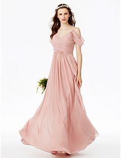 billige Romantisk rosa-A-linje Spagettistropper Gulvlang Chiffon Brudepikekjole med Plissert / Bølgemønster / Kryssdrapering av LAN TING BRIDE®