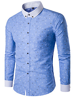 Men's Casual/Daily Simple Spring Fall Shirt,Print Button Down Collar Long Sleeves Polyester