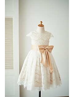 A-Line Knee Length Flower Girl Dress - Lace Short Sleeves Jewel Neck with Bow(s) Sash / Ribbon by LAN TING BRIDE®