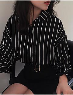 Annet Langermet,Skjortekrage Skjorte Stripet Fargeblokk Gatemote Ut på byen Dame