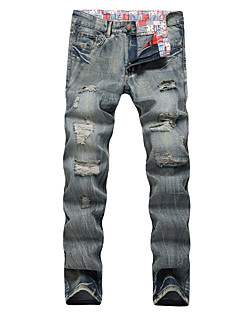 Men's Mid Rise High Elasticity Straight Loose Slim Jeans Pants,Simple Active Street chic Straight Loose Slim Jeans Ripped Solid