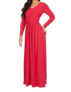Women's Casual/Daily Simple Loose Dress,Solid V Neck Maxi Long Sleeve Polyester Summer Mid Rise Inelastic Thin