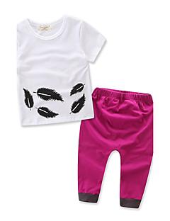 billige Tøjsæt til piger-Pige Tøjsæt Geometrisk Mode, 100 % bomuld Sommer Efterår Kortærmet Blomster Pænt tøj Hvid