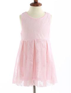 levne Outlety-Dívka je Bavlna Jednobarevné Šaty, Bez rukávů Krajkový Světlá růžová