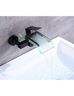 tanie Wodospad-Bateria Wannowa - Wodospad Olej przetarł brązu Umieszczona centralnie Pojedynczy Uchwyt Dwa Otwory