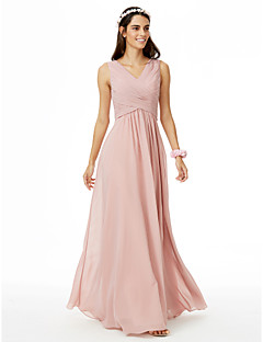 cheap Bridesmaid Dresses-A-Line V Neck Floor Length Chiffon Bridesmaid Dress with Pleats Criss Cross by LAN TING BRIDE®