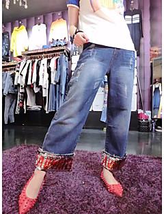 レディース ストリートファッション ミッドライズ ストレート 非弾性 ジーンズ パンツ ソリッド 仕様