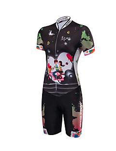 שרוול קצר חליפת טריאתלון לנשים אופניים קרב שלושהנושם עיצוב אנטומי חדירות ללחות רוכסן קדמי חדירות גבוהה לאוויר (מעל 15,000 גרם) רוכסן YKK