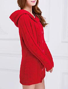 tanie Swetry damskie-Damskie Kaptur Długi Cloak / Peleryny Jendolity kolor Długi rękaw