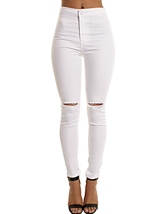 Women's High Waist strenchy Skinny Jeans Pants,Simple Street chic Skinny Pure Color Solid