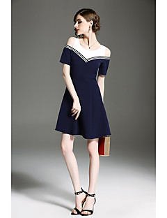 hesapli QIN QIN-Kadın's Sevimli A Şekilli Kılıf Elbise - Solid Diz üstü