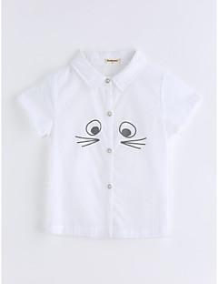Poikien Yhtenäinen väri Ruutukuvio T-paita Puuvilla Kesä Lyhyt hiha Valkoinen