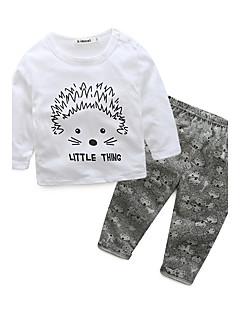 billige Sett med babyklær-Baby Børne Tøjsæt Bomuld Afslappet/Hverdag I-byen-tøj Ferie Dyretryk Tegneserie, 100 % bomuld Efterår Forår Langærmet Tegneserie Dyretryk