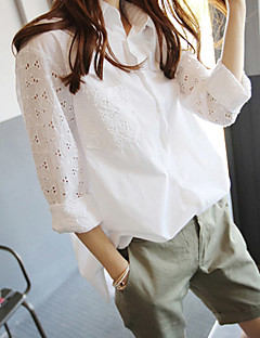 Brokade Tynn Langermet,Skjortekrage Skjorte Ensfarget Blomstret Vår Sommer Vintage Avslappet Dame