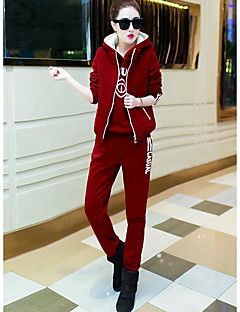 Women's Casual/Daily Simple Winter Hoodie Pant Suits,Word / Phrase Hooded Long Sleeve Micro-elastic