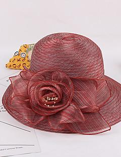 billige Trendy hatter-Dame Blomst Søtt Solhatt - Blandet Farge, Lapper Organza