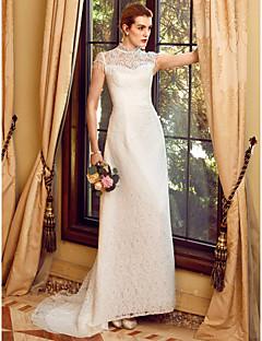 billiga A-linjeformade brudklänningar-Åtsmitande Illusion Halsband Hovsläp Organza Bröllopsklänningar tillverkade med Spets av LAN TING BRIDE®