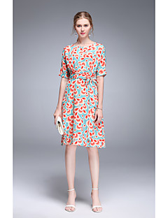 Χαμηλού Κόστους TYZEE-Γυναικεία Χαριτωμένο Swing Φόρεμα - Φλοράλ Ως το Γόνατο