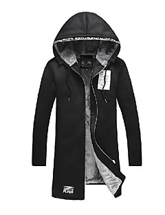 メンズ カジュアル/普段着 冬 トレンチコート,シンプル ノッチドラペル ソリッド レタード レギュラー コットン 長袖