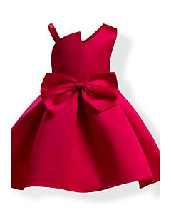 billige Pigekjoler-Pigens Kjole Helfarve Sløjfeknude Mode, Bomuld Alle årstider Uden ærmer Rosette Blå Rød