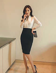 Women's Daily Work Formal Spring Shirt Skirt Suits