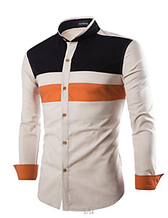 Men's Daily Casual Spring Fall Shirt,Color Block Stand Long Sleeves Cotton Others