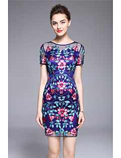 hesapli MARCOBOR-Kadın Parti Dışarı Çıkma Vintage Sokak Şıklığı Sofistike Kılıf Elbise Nakışlı,Kısa Kollu Yuvarlak Yaka Midi Polyester Diğer Yaz Normal Bel