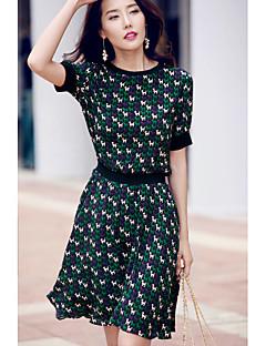 Kadın Dışarı Çıkma Günlük/Sade Sade A Şekilli Şifon Elbise Desen,Kısa Kollu Yuvarlak Yaka Diz-boyu Diz üstü Polyester Tafta Yaz Normal Bel