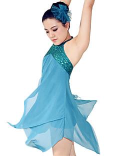 levne Kostýmy na balet-Balet Šaty Dámské Výkon Polyester Spandex Nabírání Flitry Bez rukávů Přírodní Šaty Doplňky do vlasů