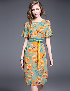 Damen Hülle Kleid-Lässig/Alltäglich Arbeit Einfach Print Rundhalsausschnitt Midi Kurzarm Polyester Sommer Mittlere Hüfthöhe Unelastisch