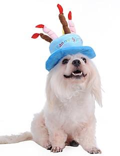 billiga Hundkläder-Hund Snusnäsdukar och mössor Hundkläder Bokstav & Nummer Blå Rosa Flanelltyg Kostym För husdjur Herr Dam Födelsedag Cosplay Mode Halloween