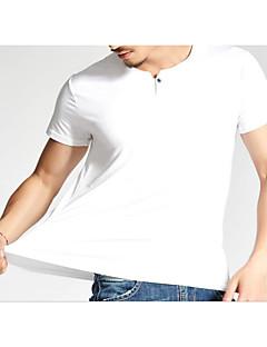 Χαμηλού Κόστους Hot White Summer-Ανδρικά T-shirt Ενεργό - Μονόχρωμο Στρογγυλή Λαιμόκοψη Βαμβάκι