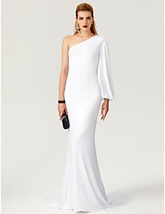 Χαμηλού Κόστους Φορέματα Μεγάλου Μεγέθους-Ίσια Γραμμή Ένας Ώμος Ουρά Ζέρσεϊ Επίσημο Βραδινό Φόρεμα με / με TS Couture®