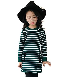 billige Pigetoppe-Pige T-shirt Stribe, Bomuld Efterår Alle årstider Langærmet Blomster Grøn Sort