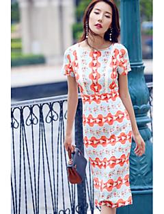 Kadın Dışarı Çıkma Günlük/Sade Sade Sevimli Kombinezon Elbise Desen Kuyruk,Kısa Kollu Yuvarlak Yaka Diz-boyu İpek Bahar Yaz Normal Bel