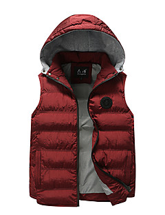 Men's Regular Padded Coat,Simple Casual/Daily Solid-Cotton Cotton Sleeveless Hooded