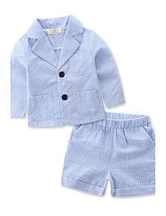 billige Tøjsæt til drenge-Drenge Tøjsæt Stribet Stribe, Bomuld Polyester Sommer Langærmet Stribet Blå