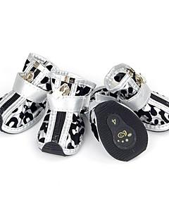 billiga Hundkläder-Hund Skor och stövlar Ledigt/vardag Sport Leopard Guld Silver Röd Rosa För husdjur