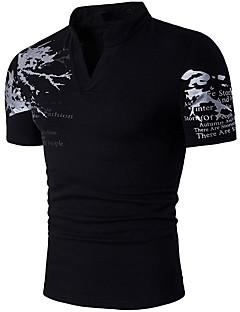 Bomull Medium Kortermet,Høy krage T-skjorte Trykt mønster Vår Sommer Enkel Fritid/hverdag Herre
