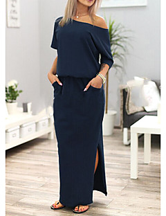 Women's Daily Going out Casual Sexy Street chic Loose Dress,Solid Simple Off Shoulder Maxi Half Sleeves Polyester Spring Summer Mid Rise
