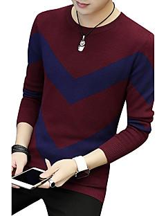 tanie Męskie swetry i swetry rozpinane-Męskie Rozmiar plus Sport Praca Moda miejska Okrągły dekolt Pulower Jendolity kolor Długi rękaw