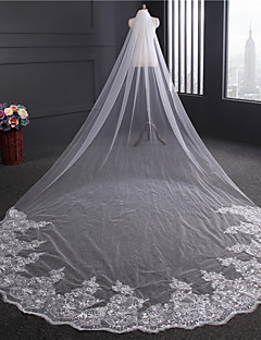 One-tier Lace Applique Edge Wedding Veil Chapel Veils With Applique Sequin Ribbon Embroidery Tulle
