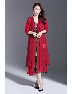 Damen Solide Einfach Ausgehen Lässig/Alltäglich Jacke,Rundhalsausschnitt Sommer ½ Ärmel Lang Polyester Stickerei